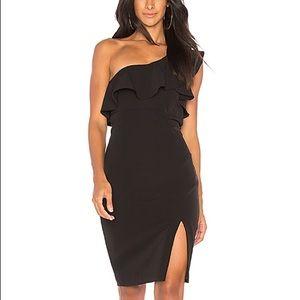 NWT Black Ruffle One Shoulder Bardot Dress, Sz 10